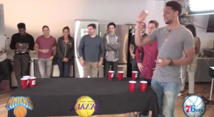 Jahlil Okafor plays beer pong to determine who he will play for.